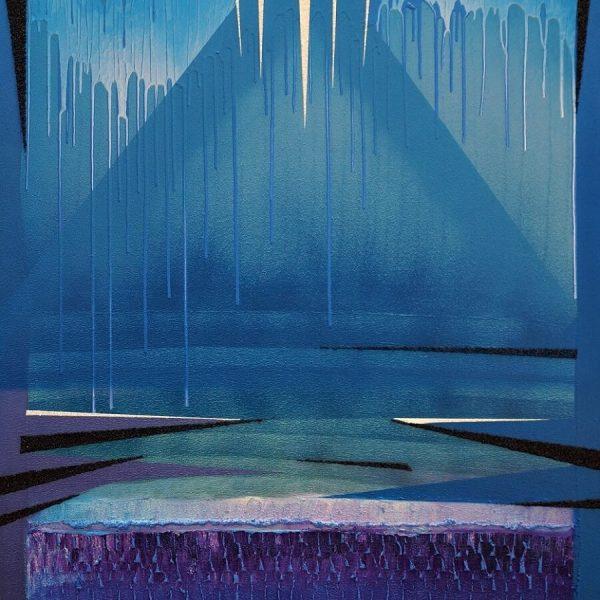 1 Jacek Jarczewski struktury niebieskie 2, 100x80 cm, 2017