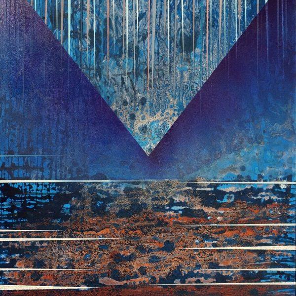 2 Jacek Jarczewski struktury niebieskie,1 100x80 cm, 2017