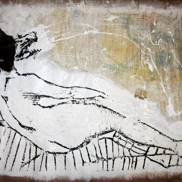 Madame E. linoryt, druk na płótnie, futro50x63cm