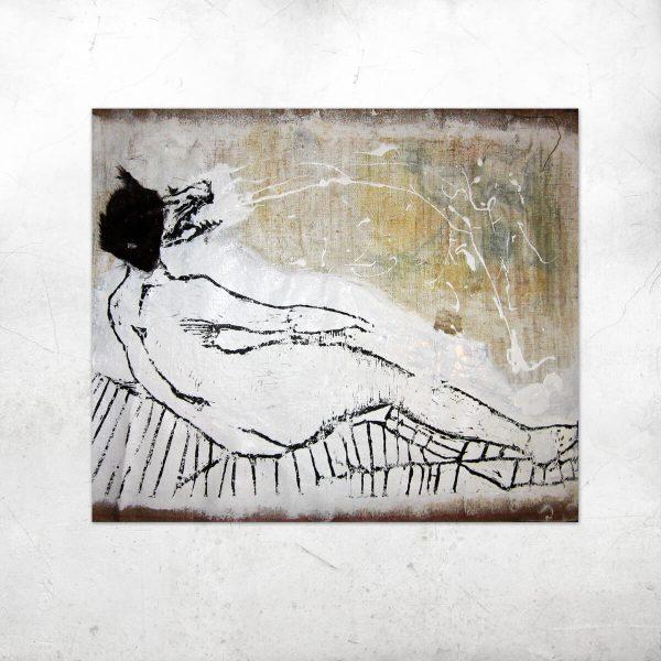 Madame E. linoryt, druk na płótnie, futro50x63cm artesklep
